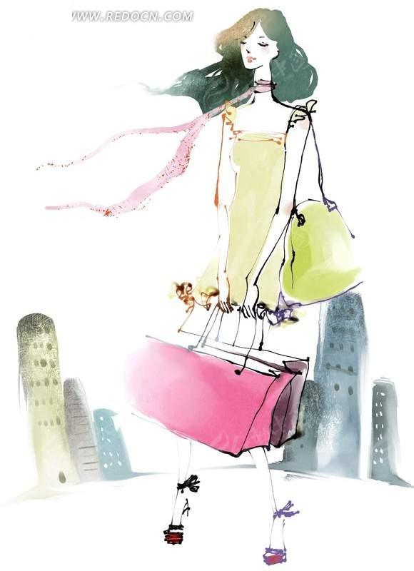 旅行箱 走路 旅行  旅游 女孩 手绘 喷绘 美女 插图 水彩画 女人生活