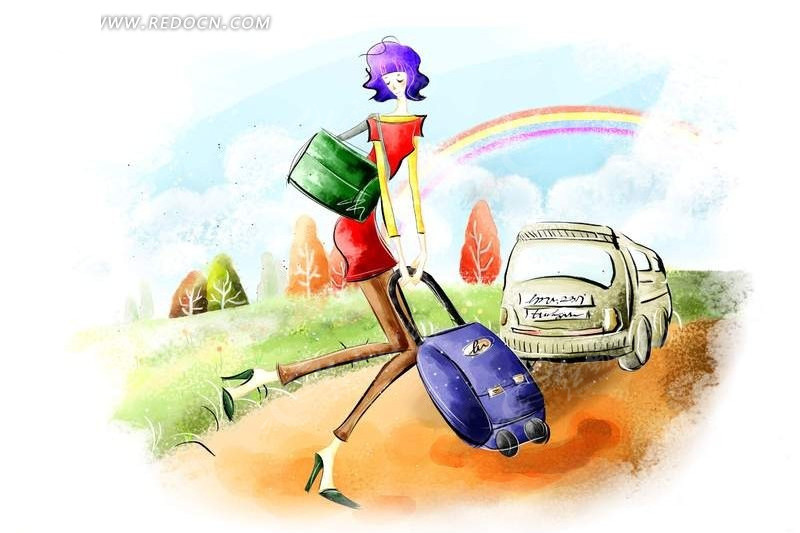 旅行箱 旅行 度假 卡通人物 卡漫 插画  人物  漫画人物 psd分层素材