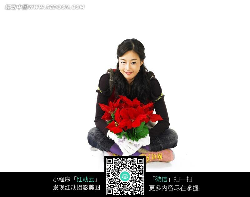 免费素材 图片素材 人物图片 女性女人 手捧鲜花的女孩  请您分享