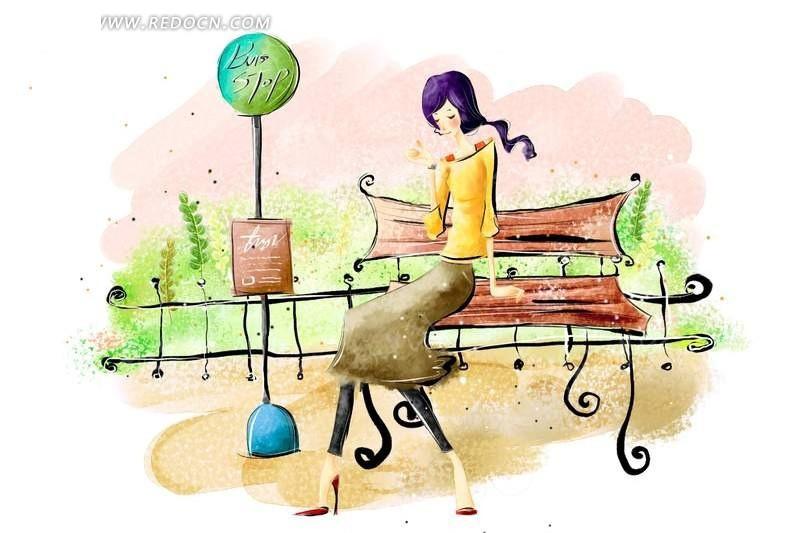 女孩坐在椅子上简笔插画