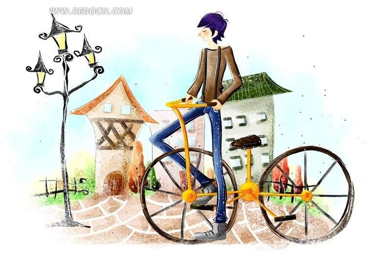 男人骑自行车简笔插画_卡通人物