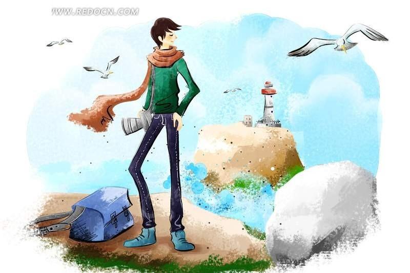 男人在海边 海洋 大海 海鸥 灯塔 保 相机 旅行 度假 卡通人物 卡漫
