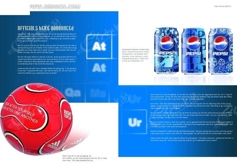 百事可乐包装英文画册版式设计图片