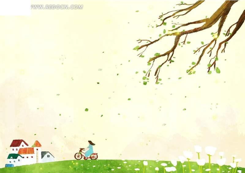 骑自行车的女孩 风景psd素材下载编号:55283