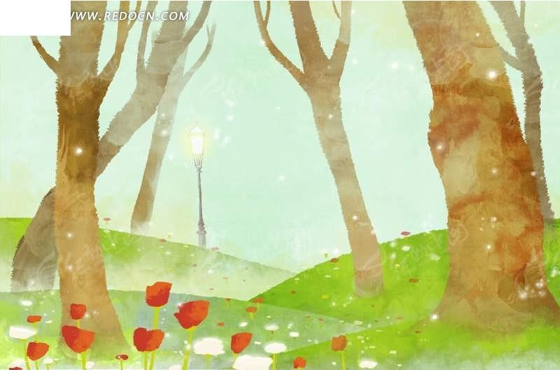 春天树林中的风景插画