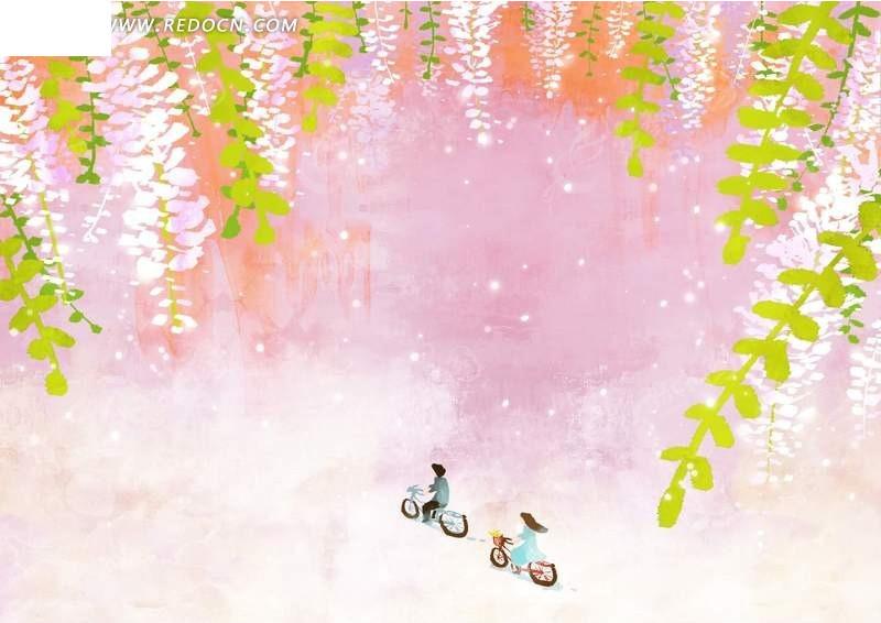 春天里骑自行车卡通漫画