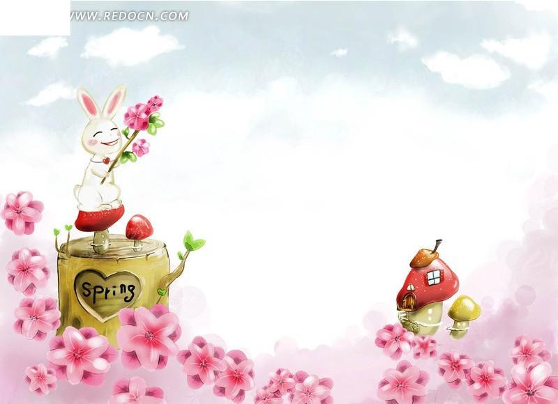 手绘卡通兔子蘑菇房子场景插画