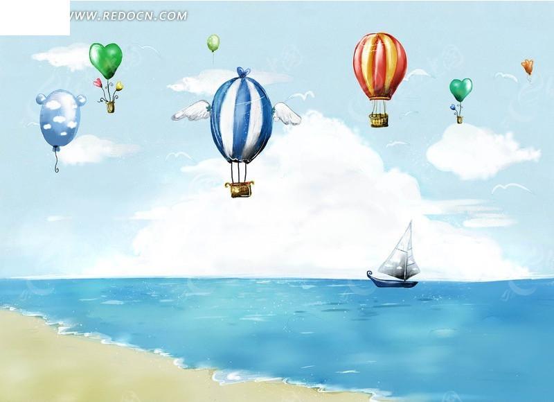 夏日海滩手绘插画素材