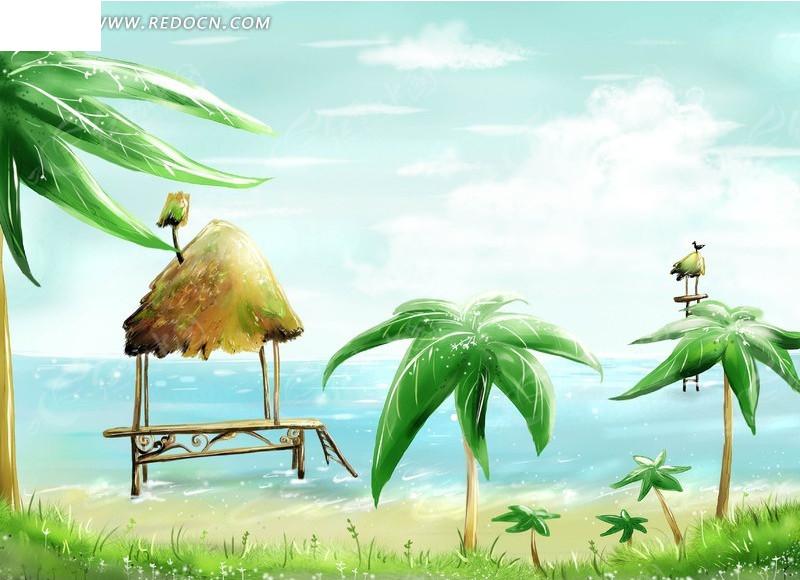 海边椰子树草屋卡通插画风景图