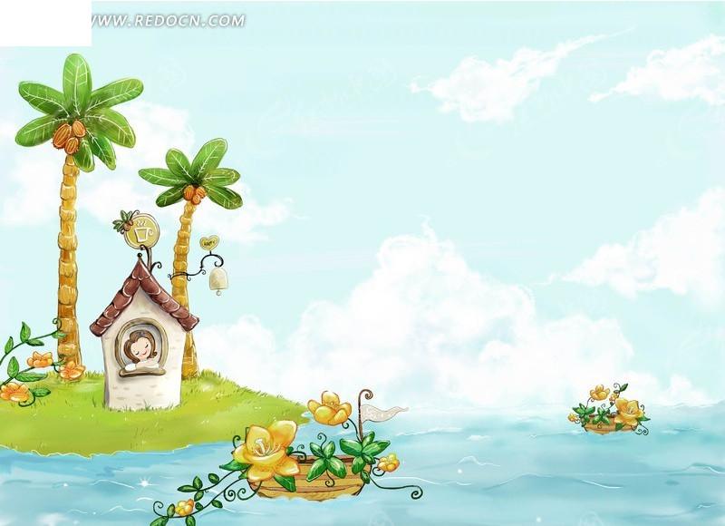 海岛上的椰子树小屋和小船插画风景素材