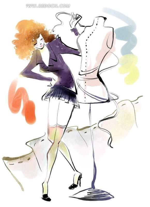 手绘女生服装设计图小清新