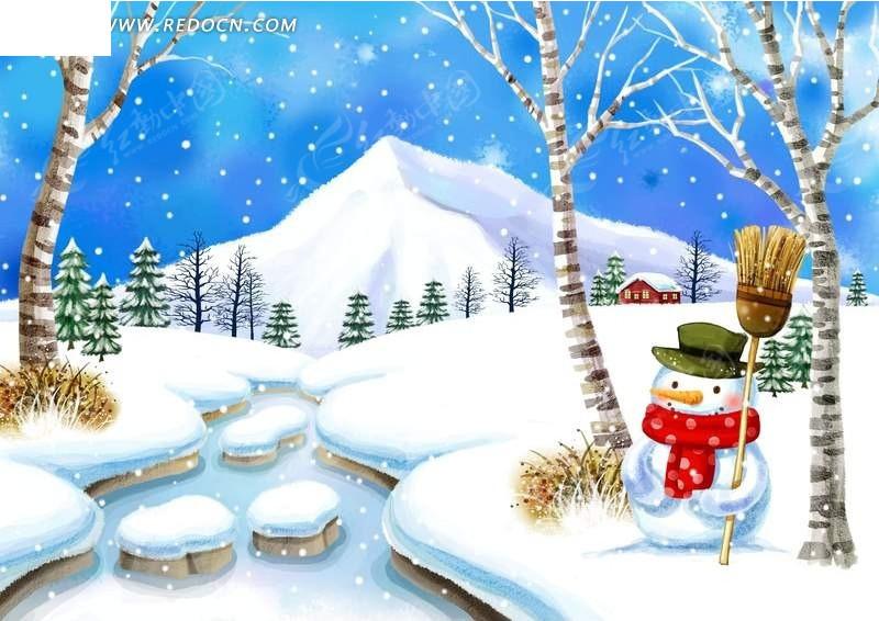 卡通雪景图片素材
