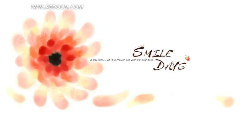 红色鲜花花瓣韩国手绘