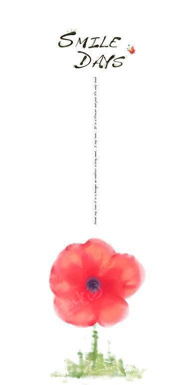 红色小花韩国手绘