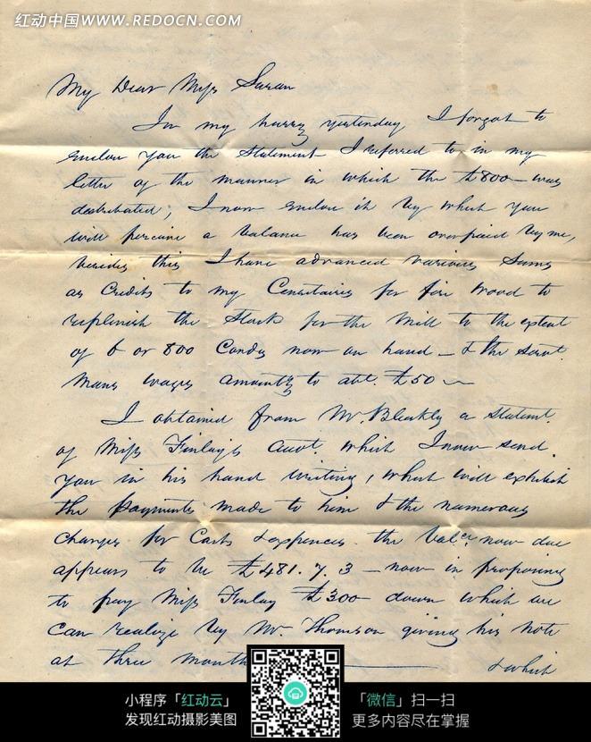 蓝色钢笔字的古老英文信件图片图片