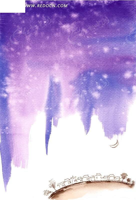 紫色星空水彩画 psd