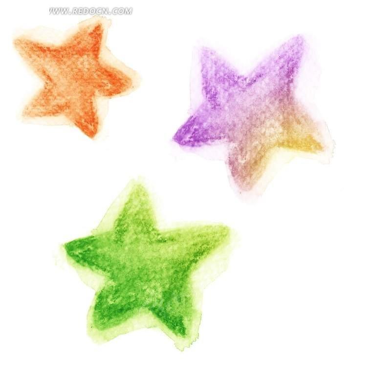 手绘彩色星星素材图片