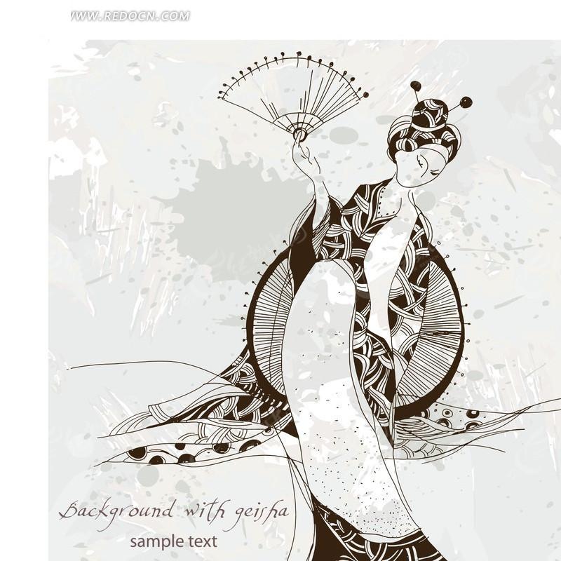 日本和服美女插画矢量素材 美女矢量图|女人矢