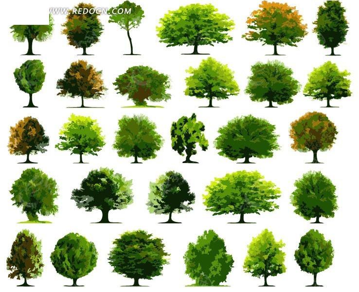 29款矢量绿色树木造型eps格式图片