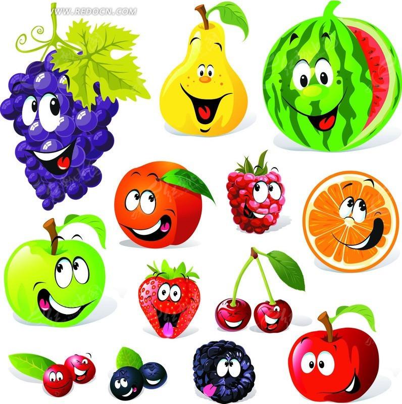 卡通水果表情矢量素材