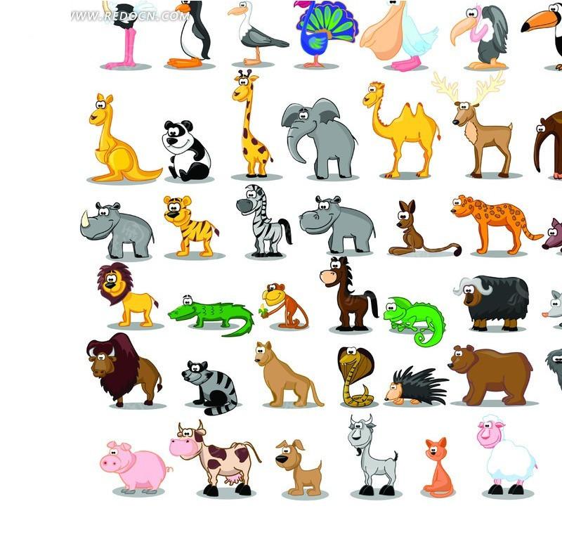 可爱卡通动物集锦矢量素材,编号是554135,文件格式eps,您下载的是一个