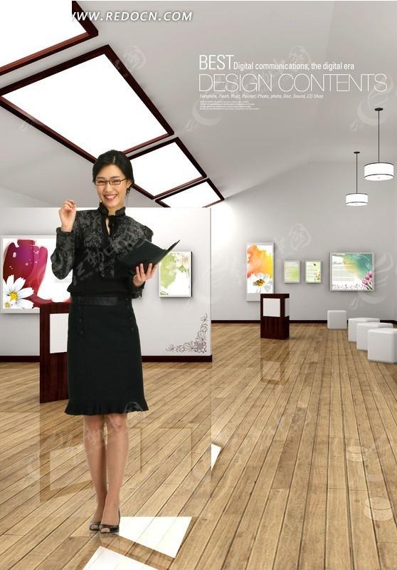 展厅内商务女秘书PSD素材图片