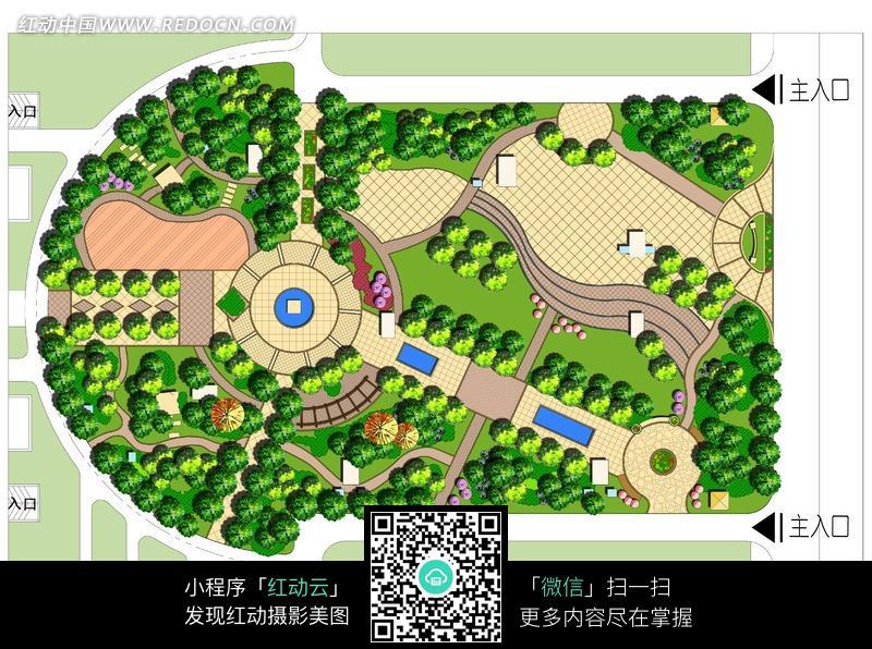 居住区 休闲 广场 景观 设计 方案 平面 彩图 园林景观 摄影图片