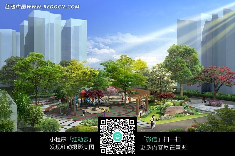 小区休闲广场景观效果图