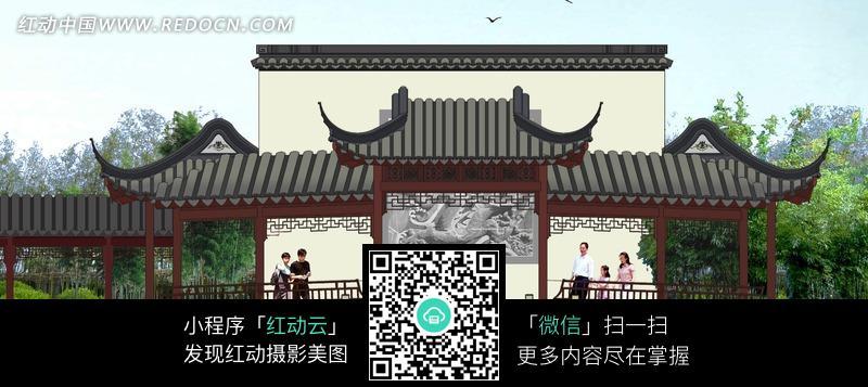 中式 园林 建筑 景观 水池 连廊 照壁 立面         园林景观 摄影图片
