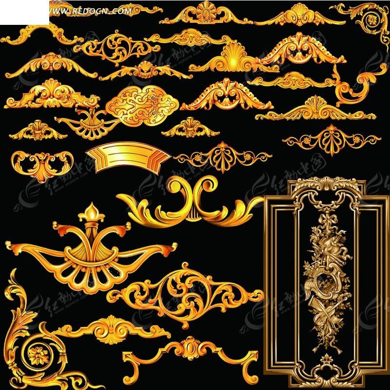 欧式风格金色立体花边边角psd素材