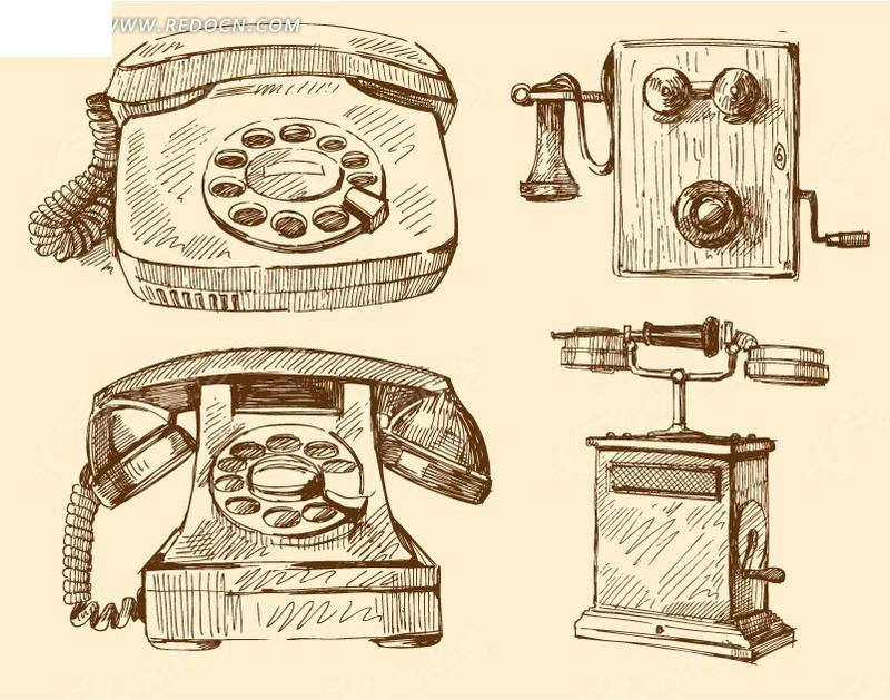 电话机 拨号电话 手摇电话 转盘 听筒 线稿 线描 生活用品 矢量素材