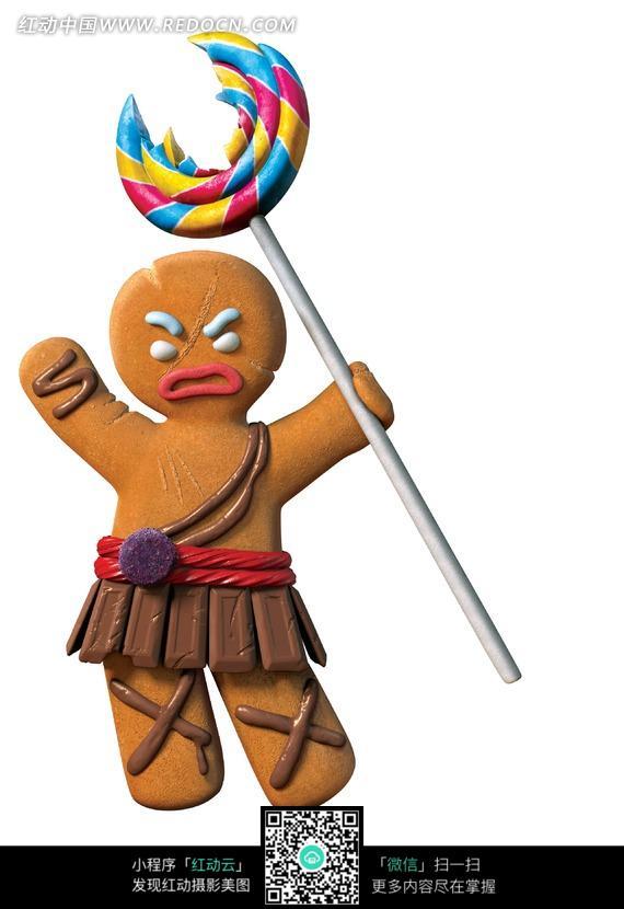 免费素材 图片素材 漫画插画 人物卡通 举着棒棒糖发怒的姜饼人