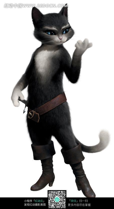 小黑猫肉爪图片_人物卡通图片