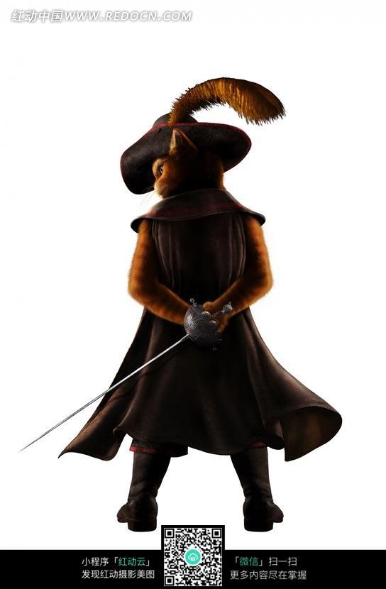 拿剑的靴猫背影图片_人物卡通图片