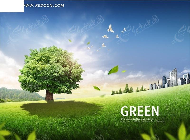 春天郊外的一颗绿树psd素材_风景