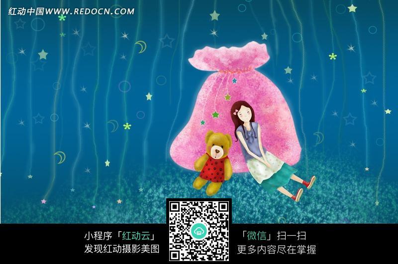 梦幻卡通小女孩梦境图片