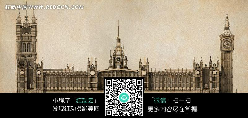 手绘哥特式城堡建筑图片
