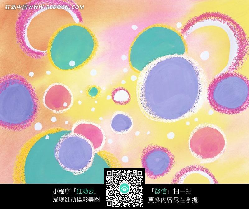 手绘彩色圆圈圆环卡通背景