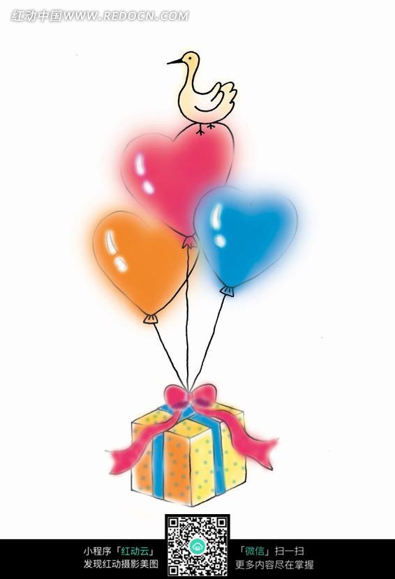 手绘坠着心形气球的礼物卡通漫画