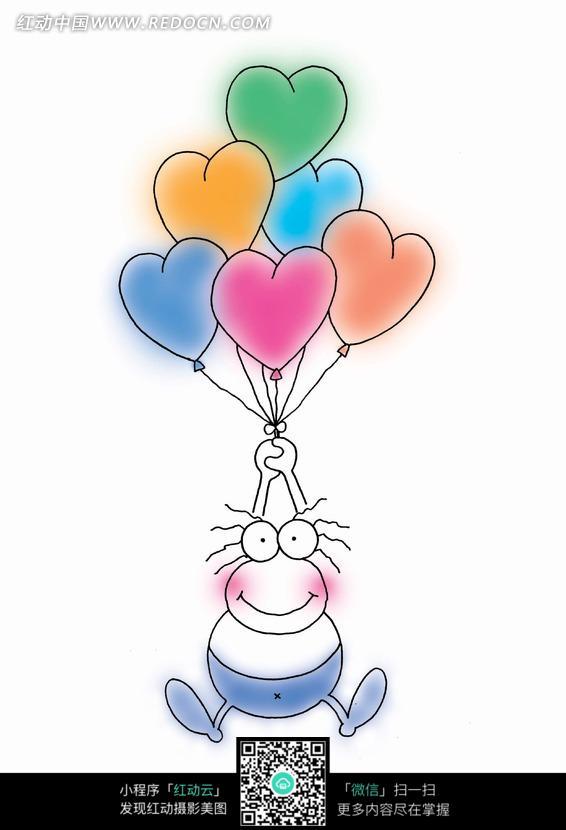 手绘拉着心形气球的小青蛙图片