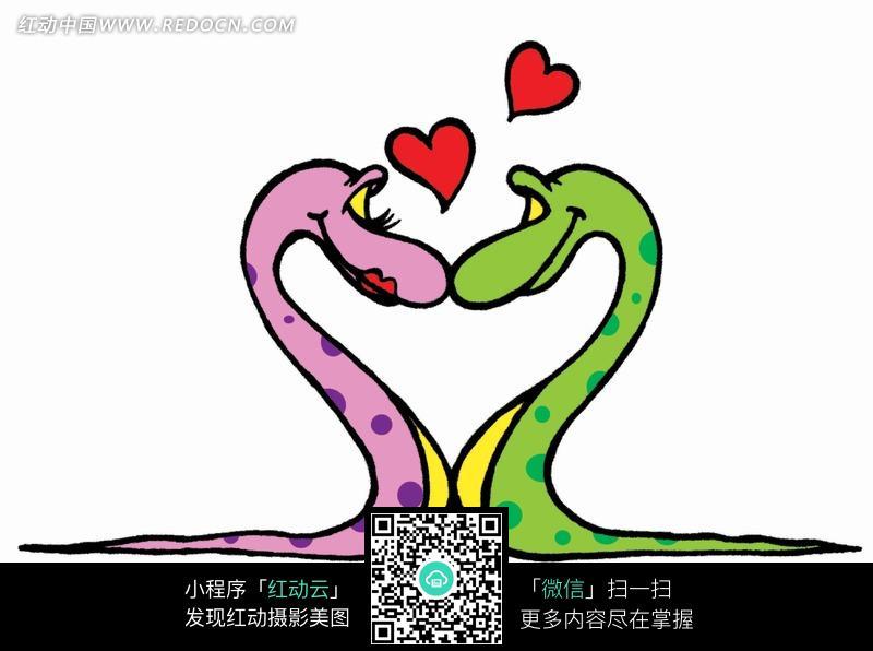 手绘亲吻的粉绿两条情侣蛇图片
