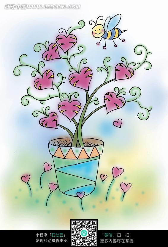 心形花上采蜜的小蜜蜂卡通漫画图片