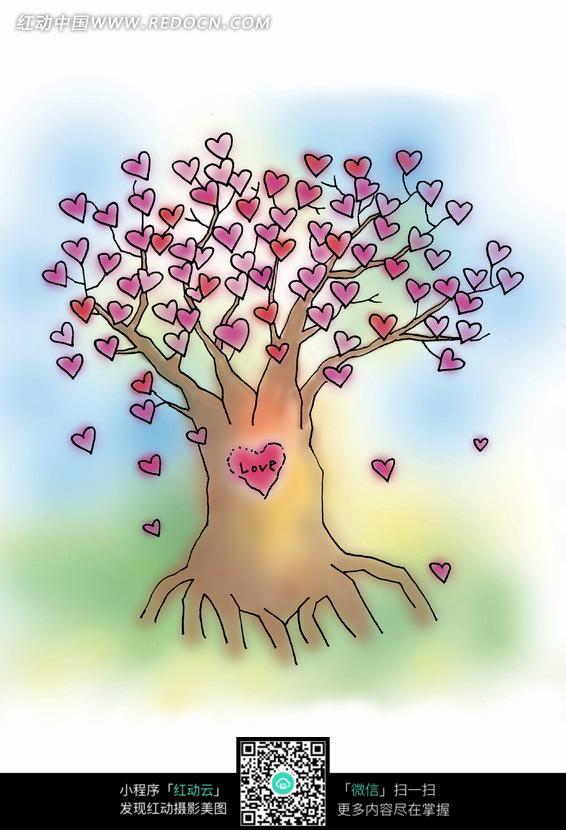 漂亮的卡通心形树图片; 开满心形花的大树图片_人物卡通图片; 卡通树