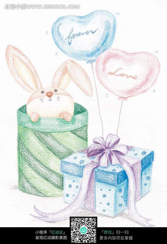 手绘筐子里的可爱兔子卡通漫画图片