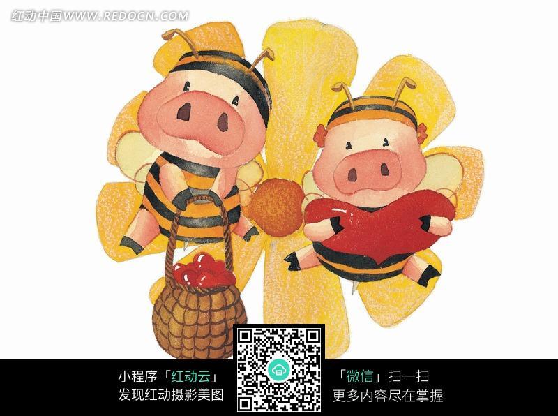 卡通蜜蜂猪情侣