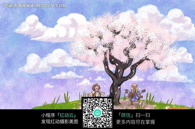 卡通樱花树美景图片