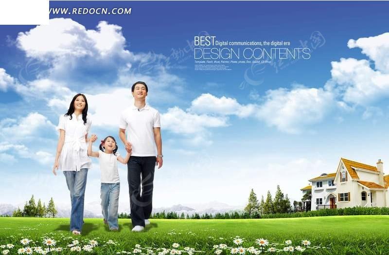 幸福家庭-草地上牵手的一家人图片