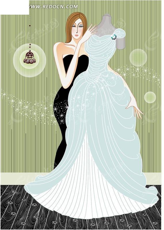 手绘彩色女孩试穿婚纱cdr模板