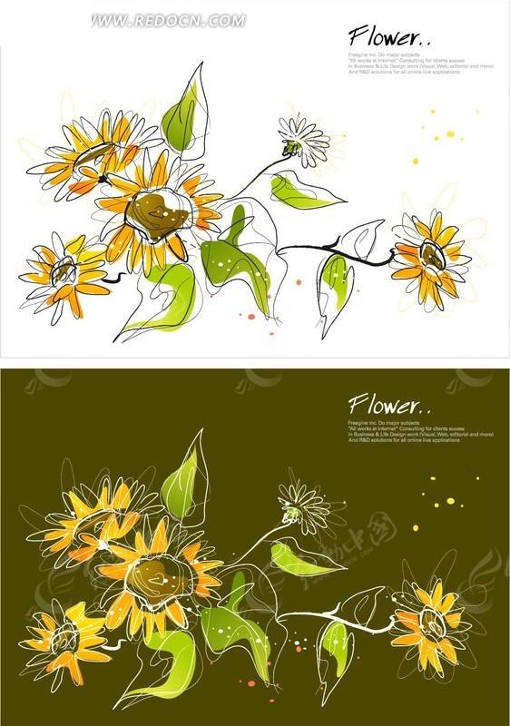时尚线条矢量植物插画