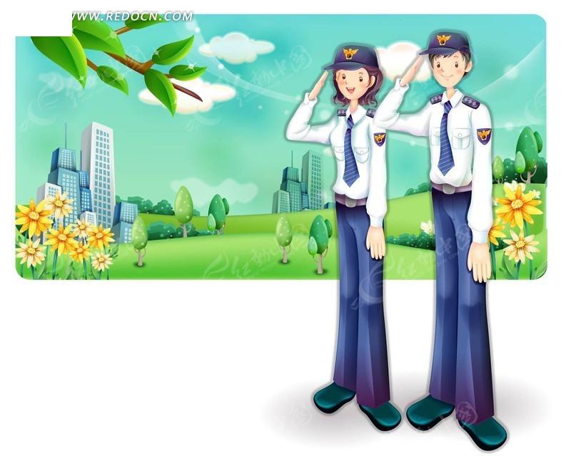 矢量卡通警察敬礼插画矢量图AI免费下载 卡通形象素材